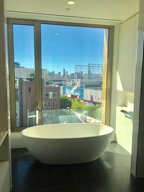 Bathroom window treatment before