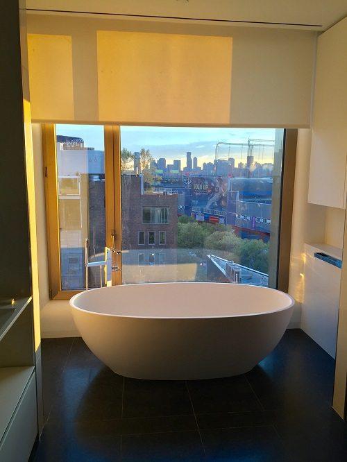 Bathroom window treatment after