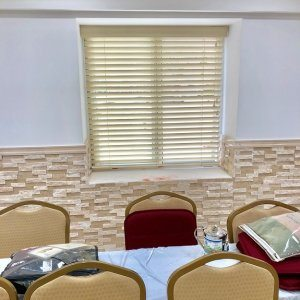 Brooklyn congregation wood blinds