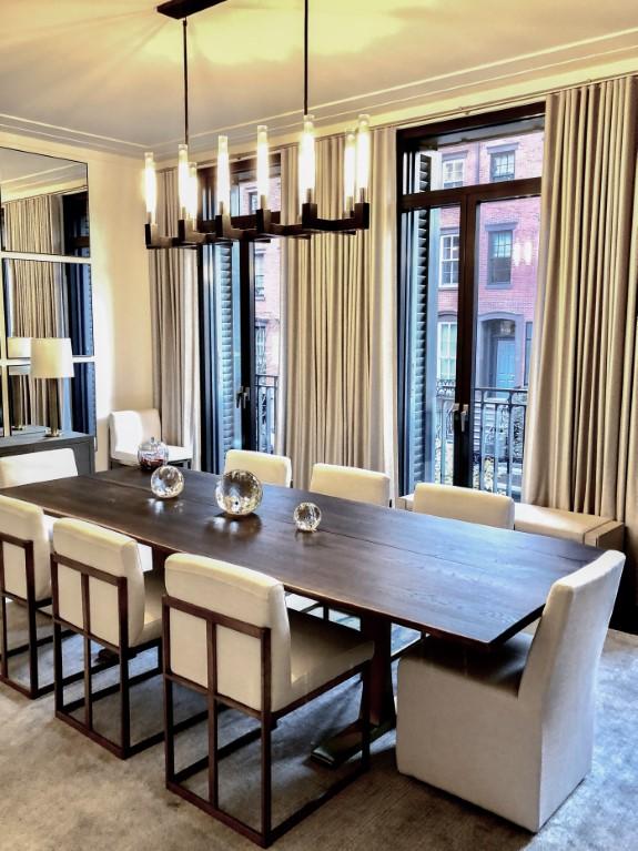 Ripple Fold Draperies dining table