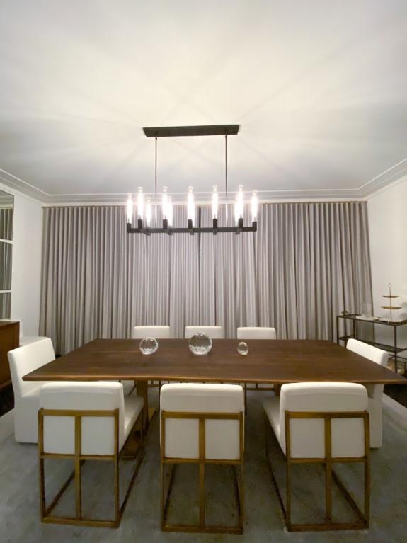Ripple fold draperies dining room
