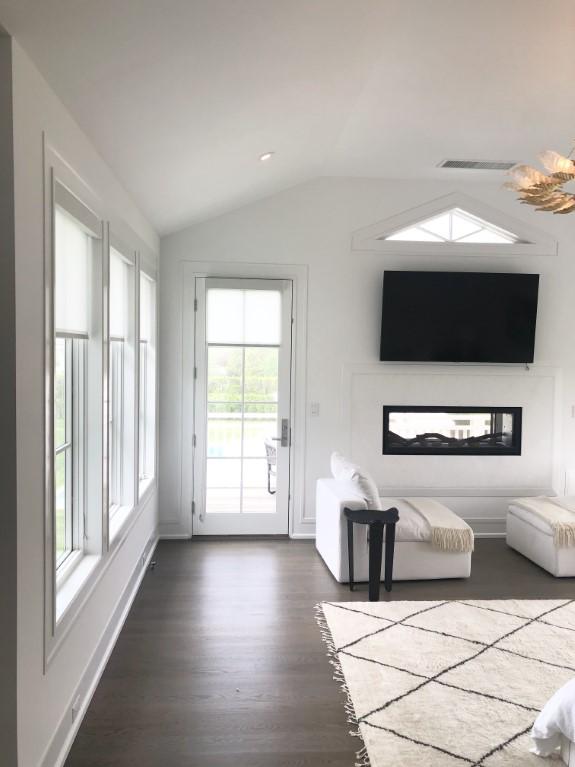 white living room roller shades blackout